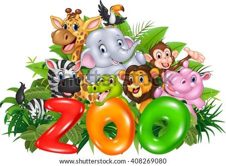 Word zoo with cartoon wild animal - stock photo
