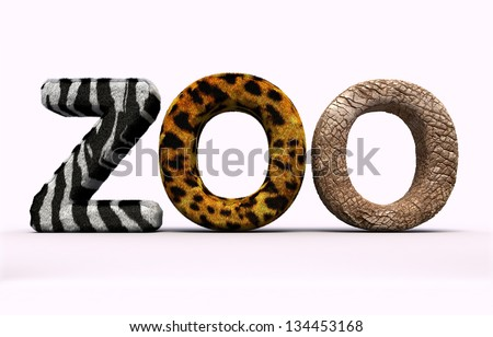 Word zoo with fur letters. - stock photo