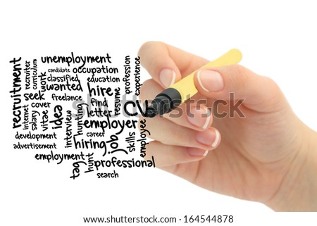 Wordcloud CV word tags - stock photo