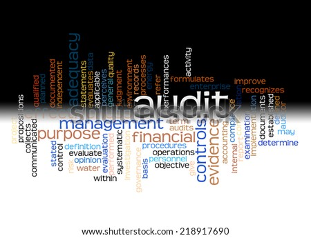 Wordcloud of Audit and its associates, with black and white effect - stock photo