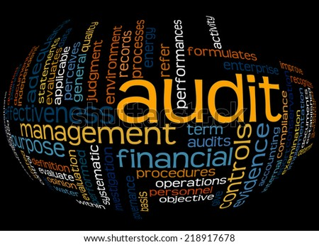 Wordcloud of Audit and its associates, with motion effect - stock photo