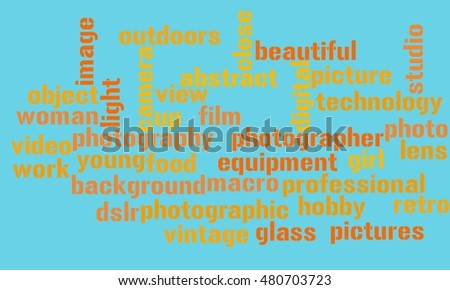 Words about photography on green background