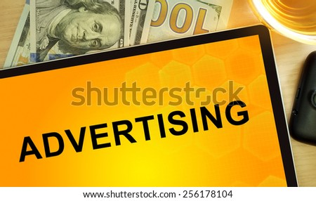 Words Advertising  on tablet. Business concept. - stock photo