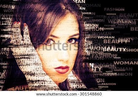 Words Beauty Fashion and Woman made portrait of a beautiful young woman - stock photo