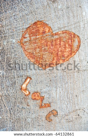 Words carved on wood - stock photo