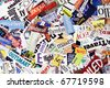 Words clipped from various magazines form a colorful background - stock photo