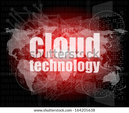 words cloud technology on digital screen, information technology concept - stock photo