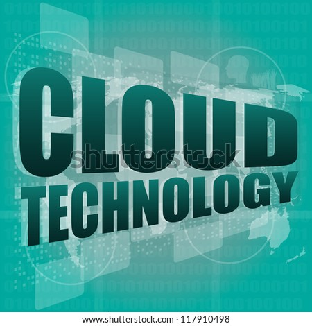 words cloud technology on digital screen, information technology concept, raster - stock photo