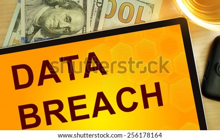 Words Data Breach  on tablet. Business concept. - stock photo