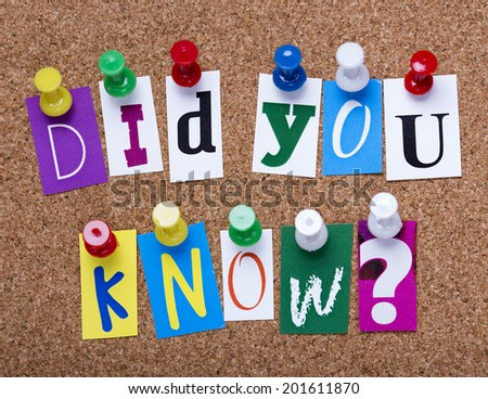 words did you know from cutout newspaper letters pinned to a cork bulletin board - stock photo