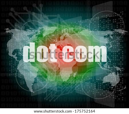 words dot com on digital screen, information technology concept - stock photo