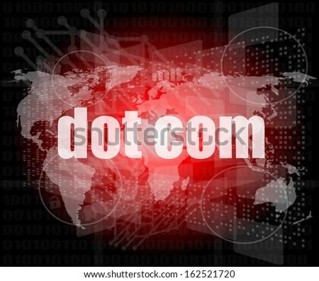 words dot com on digital screen, information technology concept, raster - stock photo
