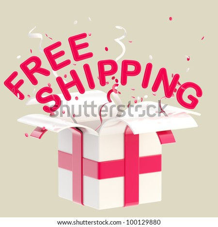 """Words """"free shipping"""" inside a gift box with colorful ribbon, serpentine and confetti isolated on white - stock photo"""