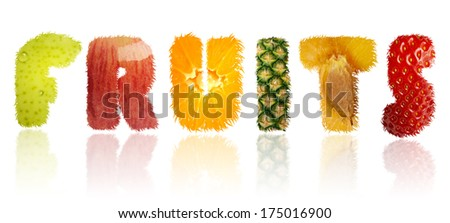 words from different fruits - stock photo