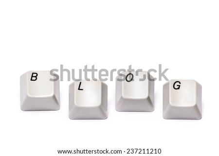 words from letters collected with computer keyboard buttons keys blog isolated on white background - stock photo