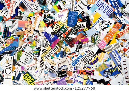 Words from Magazines form a Colorful Background