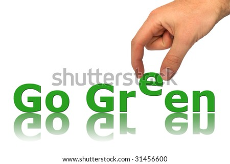 Words Go Green isolated on white background - stock photo