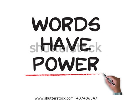 Words Have Power businessman work on white broad, top view