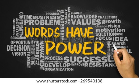 words have power concept with related word cloud hand drawing on blackboard