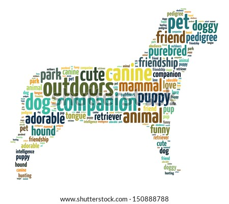 Words illustration of a cute dog over white background