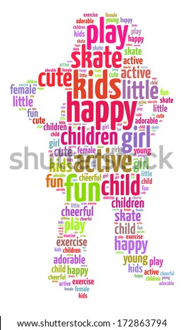Words illustration of a happy kid playing over white background