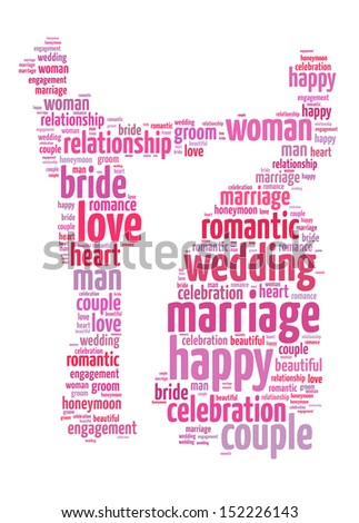 Words illustration of the concept of marriage over white background