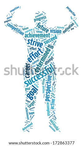 Words illustration of the concept of success and determination