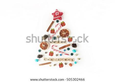 Words Merry Christmas Christmas Tree Made Stock Photo (Edit Now ...