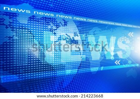 words News on digital blue background - stock photo