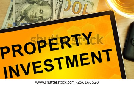 Words Property Investment  on tablet. Business concept. - stock photo