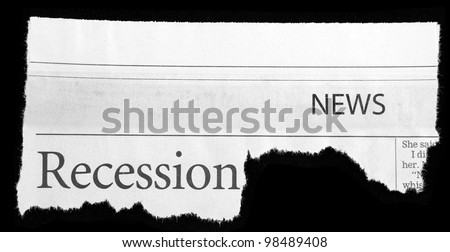 Words recession and news printed on newspaper clipping on black background - stock photo