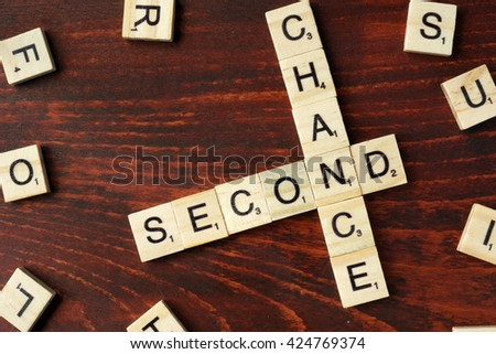 Words Second Chance from wooden blocks.