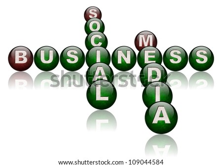 words social media and business arranged as a crossword puzzle / social media business - stock photo
