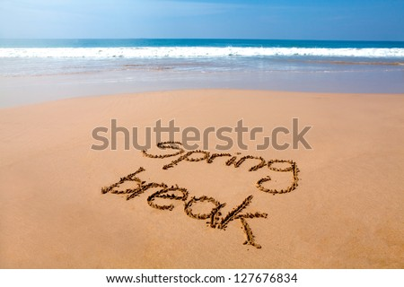 Words spring break written in sand on a tropical beach, with sea in background - stock photo