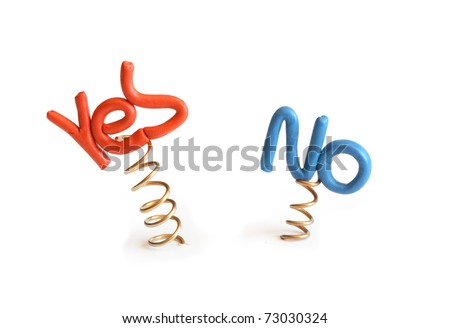 Words Yes and No made from plasticine attached to metal springs on white background - stock photo