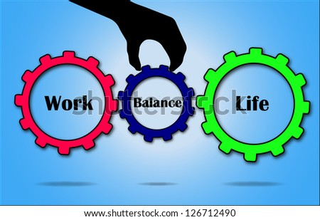 Work and Life Balance concept illustration using Gears and hand silhouette - stock photo