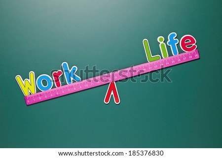 Work and life balance concept with words and drawing on blackboard - stock photo