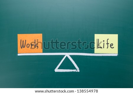 Work and life balance concept, words and drawing on blackboard - stock photo