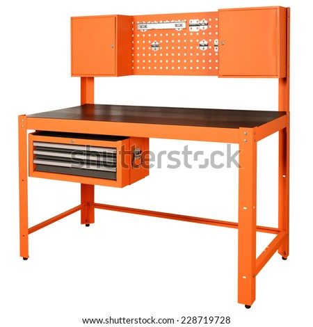 work bench with 3 drawer tool chest on white background - stock photo