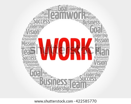 Work circle word cloud, business concept - stock photo