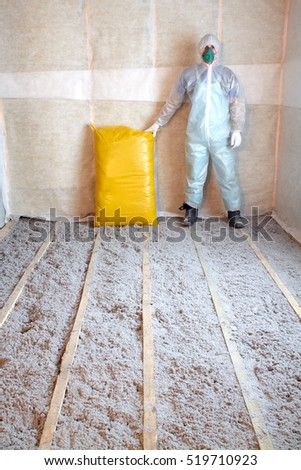 Loft insulation stock images royalty free images for Eco friendly house insulation