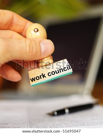 work council stamp in office ur bureau showing worker union concept