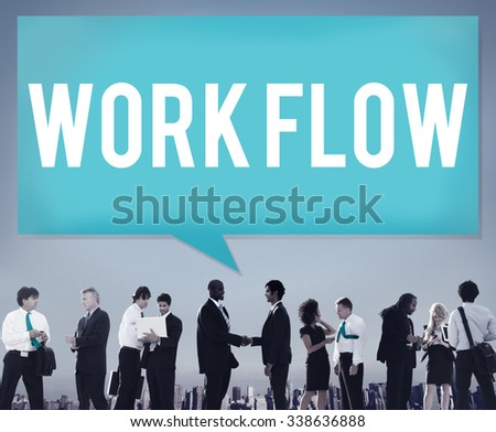 Work Flow Efficiency Implement Process System Concept - stock photo