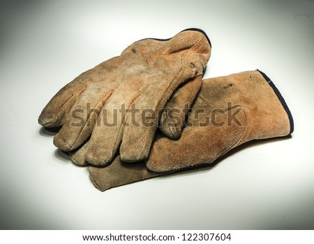 work gloves on white - stock photo