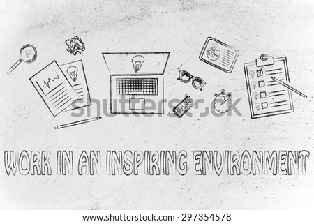 work in an inspiring environment, concept of brainstorming and developing new ideas - stock photo