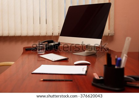 work in office at computer. mockup work on PC