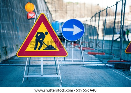 work in progress roadworks road signs men at work some signs signage