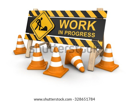 Work in progress sign and traffic cones. Image with clipping path - stock photo