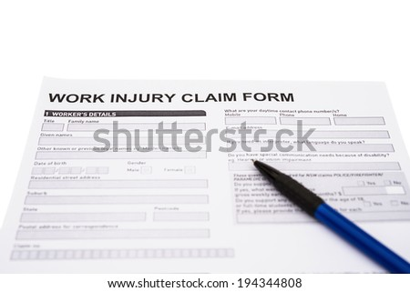 work injury claim form on white with clipping path - stock photo