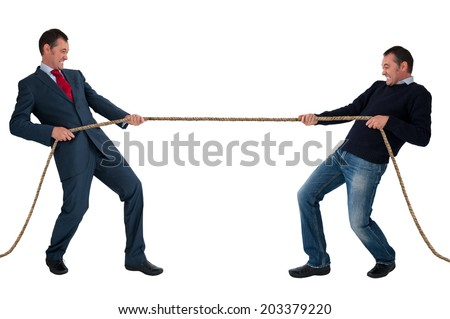 work life balance men tug of war isolated on white background